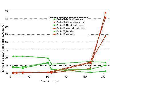 Fig 2: Andamento IgE specifiche e IgG4 in funzione della dose di latte